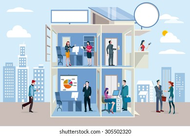 Transparent office building with people working in different departments.