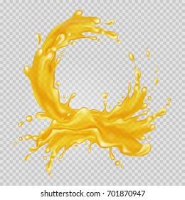Transparent orange liquid splash. Juice background. Vector illustration.