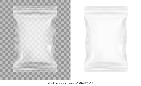 Transparent Packaging For Snacks, Chips, Sugar, Spices, Or Other Food EPS10 Vector