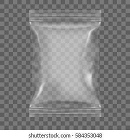 Transparent Packaging For Snacks, Chips, Sugar, Spices Or Other Food. EPS10 Vector