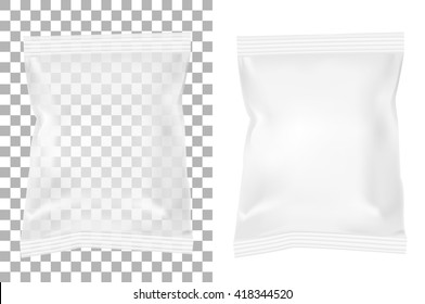 Transparent packaging for snacks, food, chips, sugar and spices. Isolated on a white background.
