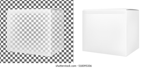 Transparent paper or plastic box for food or cosmetics