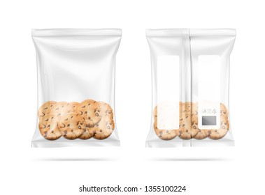Transparent pillow bag with cookies. Vector illustration on white background. Can be use for template your design, promo, adv. EPS10
