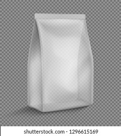 Transparent pillow bag mockup. Vector illustration. Can be use for template your design, promo, adv. EPS10.