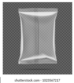 Transparent pillow bag. Vector illustration on gray background. Can be use for template your design, promo, adv. EPS10
