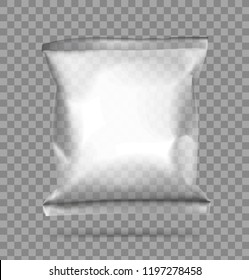 Transparent pillow bag. Vector illustration. Can be use for template your design, promo, adv. ESP10.