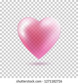Transparent Pink Heart shape isolated on transparent background. Vector design element. Love symbol. 3d heart.