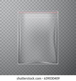 Transparent plastic bag with zipper, vector illustration