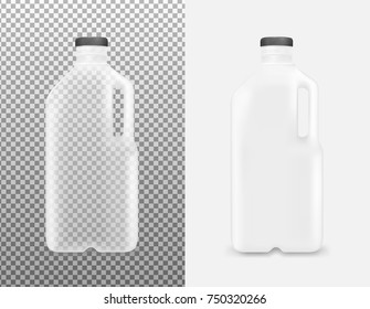 Transparent plastic bottle with handle for milk and juice