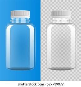 Transparent plastic bottle on blue and transparent background, vector illustration