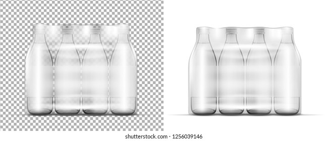 Transparent plastic bottle packaging and glass bottle with cap.