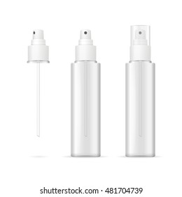 Transparent Plastic Bottle Spray Cosmetic Container. Vector illustration