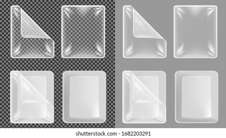 Transparent plastic container for food. Packaging for meal