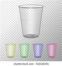 Transparent Plastic Cup Set. Mock Up For Your Design. Disposable Plastic Cup Template. Food Packaging Vector Illustration