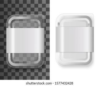 Transparent plastic food container, product tray box pack with label. Vector isolated 3d realistic mockup template foot tray box container, grocery store or shop and fast food package