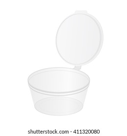 Transparent plastic food tub for snacks, soy sauce, cream, yogurt, ice cream with cap. Mock up white template for your design. Isolated on a black background.