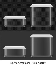 Transparent plastic or glass food container with white lid.