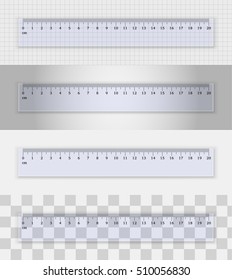Transparent plastic ruler 20 centimeters  on different backgrounds. Measuring tool. School supplies