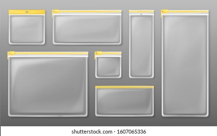Transparent plastic zipper bags isolated on gray background. Vector set of empty clear pockets sealed by yellow ziplock. Realistic mockup of different size packets