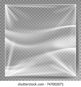 Transparent Polyethylene Vector. Stretched Glossy Plastic Warp Mock Up. Isolated On Transparent Background Illustration