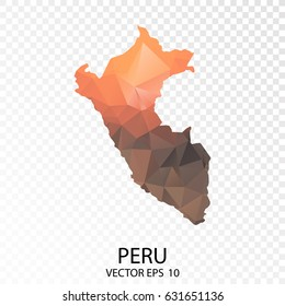 transparent Polygon Map - Vector illustration Low Poly Color Orange Peru Map of  isolated. Vector Eps 10.