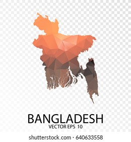 Transparent Polygon Map - Vector illustration Low Poly Color Orange Bangladesh Map of isolated. Vector Eps 10