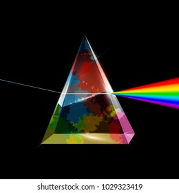 Transparent Prism with Colorful Splashes on Dark Background. Vector Spectrum Abstract Illustration.