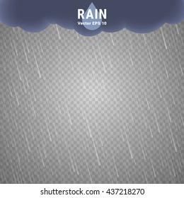 Transparent Rain Image. Vector Rainy Cloudy background. Vector Rain