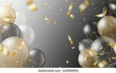 Transparent realistic balloons and golden confetti isolated on transparent background. Party decorations for birthday, anniversary, celebration, wedding, event design. Vector illustration.