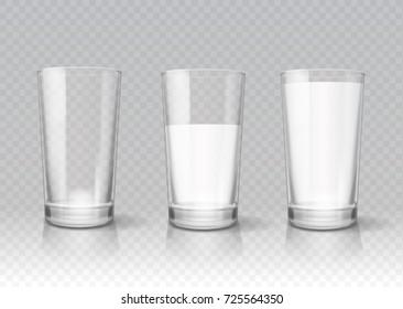 Transparent realistic glasses of milk
