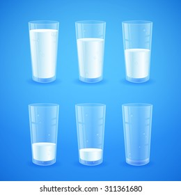 Transparent realistic glasses of milk on blue background, from full to half filled to empty, nutricious and organic, for breakfast