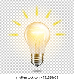 Transparent realistic glowing light bulb, isolated.