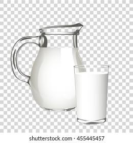 Transparent realistic milk carafe.  Vector illustration.