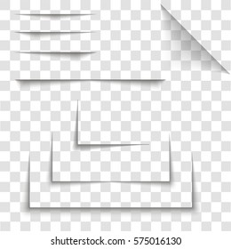 Transparent realistic paper shadow effect set. Abstract vector illustration for your design and business on transparent background.