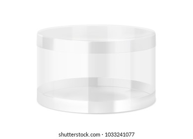 Transparent realistic plastic jar. Vector illustration on white background. Can be use for template your design, sweet, food. EPS10.