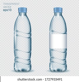 Transparent realistic vector blue plastic bottle with water on light background