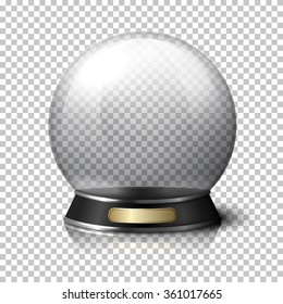 Transparent realistic vector crystal ball for fortune tellers. Isolated on plaid background with reflection.