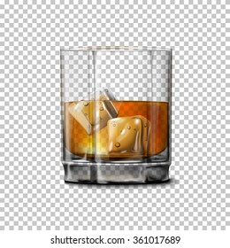 Transparent realistic Vector glass with smokey Scotch Whiskey and ice isolated. Glass and drink for every background.