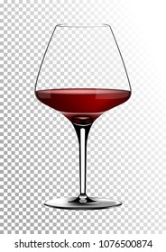 Transparent realistic vector wineglass full of red wine rich dark ruby burgundy color. Illustration in photorealistic style.