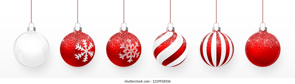 Transparent and Red Christmas ball with snow effect set. Xmas glass ball on white background. Holiday decoration template. Vector illustration.