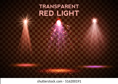 Transparent red light effects on a dark background. Spotlights, flare, explosion and stars. Vector