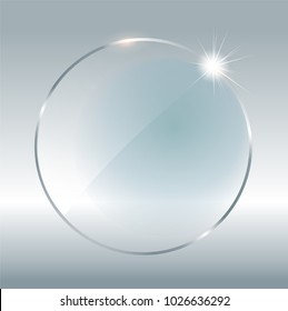Transparent round circle. See through element on checkered background. Plastic banner with reflection and shadow. Glass plate mock up. Vector illustration