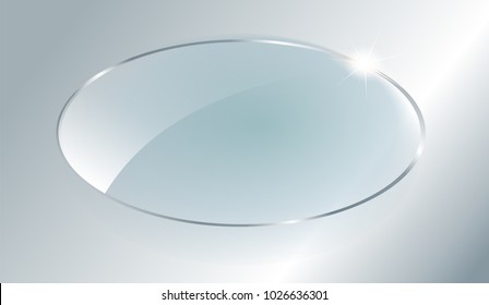 Transparent round circle. See through element on checkered background.Glass plate mock up. Vector illustration