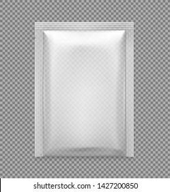 Transparent sachet packaging for food, cosmetic and hygiene. Vector illustration on white background. Ready for your design. EPS10.