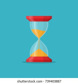 Transparent sandglass icon on blue background. Time hourglass in flat style. Sandclock vector illustartion.