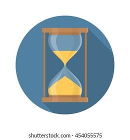 Transparent sandglass icon, time hourglass, sandclock, flat design, vector eps10 illustration