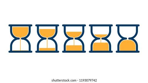 Transparent sandglass icons set of time hourglasses or sand clocks
