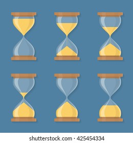 Transparent sandglass icons set, time hourglass, sandclock, flat design, vector eps10 illustration