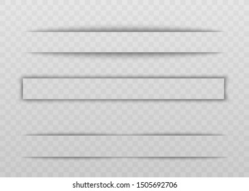 Transparent shadow and blank empty divider or border. Frame with shadow effect on a transparent background, set of realistic border, vector illustration.