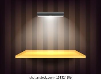 Transparent shelf with spotlight